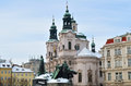 The chruch of st nicholas in winter season at prague baroque architecture church on lesser side is uniquely impressive even among Stock Image