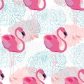 Chrysanthemum. Seamless Pattern With Flowers And Flamingo. Floral Pattern, Repeat, Wallpaper Seamless Vector Pattern.