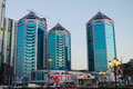 Chrystal plaza towers nov sharjah uae famous landmark of sharjah city evening with rush hour at the streets Stock Photo