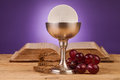 Chrystian holy communion composition on wooden table Stock Images