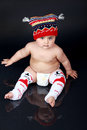 Chubby boy baby wearing i love milk leggings Stock Images