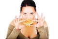 Chubby girl and fast food Stock Images