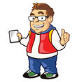 Chubby nerdy boy illustration of funny holding computer tablet mascot Stock Image