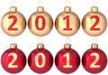 Chucherías de 2012 años de las bolas de la Navidad nuevas fijadas Foto de archivo libre de regalías