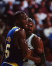 Chuck person and ricky pierce pacers battles bucks image taken from slide Stock Images