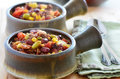 Chuckwagon chili con carne hearty bowls of with beef beans corn and tomato Royalty Free Stock Photography