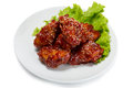 Chunks of chicken in a spicy sauce and sesame seeds from series food korean cuisine Stock Images