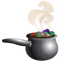 Chunky soup pot vector illustration of a vegetable steaming with smoke Stock Images