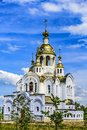 Church of All Saints in the land of Russia shone. Orthodoxy. City Stupino, Moscow region. Russia Royalty Free Stock Photo