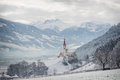 Church in alpine Zillertal valley in winter Royalty Free Stock Photo