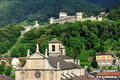 Church and ancient castle, Bellinzona, Switzerland Royalty Free Stock Photography