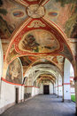 Church arcades an old with beautiful paintings and stucco work by italian artists Royalty Free Stock Photos