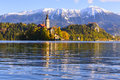 Church of the Assumption of Maria in Lake Bled, Slovenia Royalty Free Stock Photo