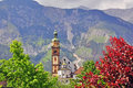 Church in austrian alps hall town Stock Images