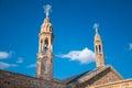 Church bell the prominent towers of dayro d mor gabriel mardin turkey Stock Photos