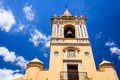 Church bell tower with mosaic tile decorations Royalty Free Stock Image