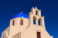 Church and bell tower in santorini greece Stock Images