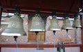 Church bells on a figurative folding belfry Stock Image