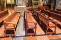 Church benches empty wooden in historic Stock Photos