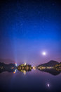 Church and Bled Castle on Bled Lake in Slovenia at Night Royalty Free Stock Photo