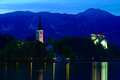Church of Bled by nigh Stock Photo