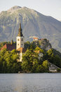 Church in bled slovenia summer Stock Photography