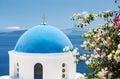 Church With Blue Cupola in Santorini, Greece Royalty Free Stock Photo