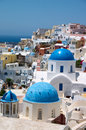Church with blue cupola on Santorini island Royalty Free Stock Image