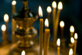 Church candles closeup in warm blur Royalty Free Stock Images