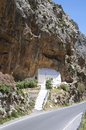 Church in canyon on crete the kourtaliotiko gorge also known as the asomatos gorge the southern side of the western part of the Royalty Free Stock Images