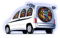 Church car white concept transformed as a Royalty Free Stock Image