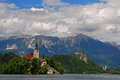 Church and castle at lake bled on an island Royalty Free Stock Photos