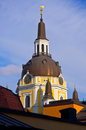 Church of catherine tower in stockholm among the rooftops Royalty Free Stock Photo