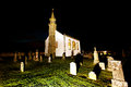 Church and cemetery at night small illuminated scotland Stock Images