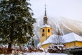 Church of chamonix town in winter taken the france Royalty Free Stock Photo