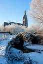 Church on the channel at winter Royalty Free Stock Photos