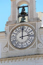 Church clock and bell tower at in rome Stock Photos