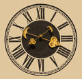 Church clock golden showing time Stock Photography
