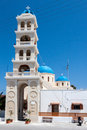 Church clock tower fira santorini a single in greek island of Stock Image