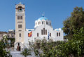 Church clock tower fira santorini a single in greek island of Royalty Free Stock Photo