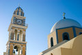 Church and clock tower on greek island Royalty Free Stock Photo