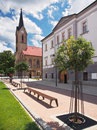 Church and County House in Dolny Kubin Royalty Free Stock Photo