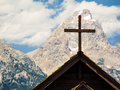 Church cross mountain peak behind grand teton national park wyoming usa Royalty Free Stock Photos