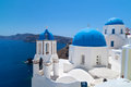 Church Cupolas and the Tower Bell from Santorini Stock Images