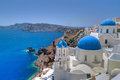 Church Cupolas and the Tower Bell from Santorini Stock Photography
