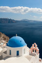 Church Dome and Bell Tower in Oia Santorini Royalty Free Stock Images