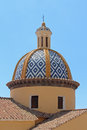 Church dome old blue with religious cross on top Stock Image