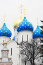 Church domes in trinity sergius lavra sergiev posad russia unesco world heritage site Royalty Free Stock Photo
