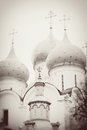 Church domes in trinity sergius lavra sergiev posad russia unesco world heritage site vintage style sepia photo Stock Images