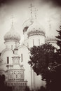Church domes in trinity sergius lavra sergiev posad russia unesco world heritage site vintage style sepia photo Royalty Free Stock Photos